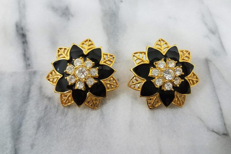 Gold Toned Enamel Earrings