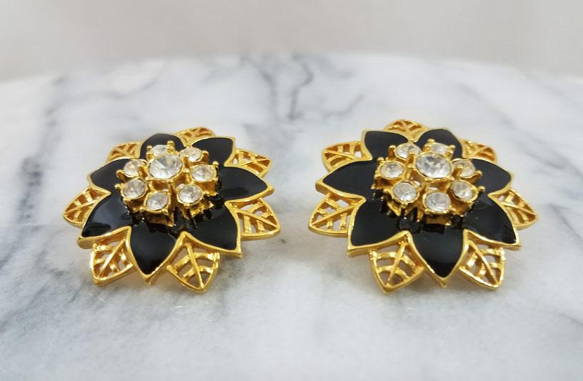Gold Toned Enamel Earrings 2