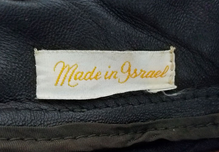Leather Coat Tag Made in Israel
