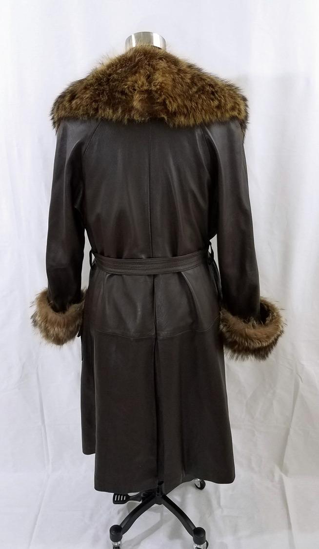 Leather Coat Fur Trim Back