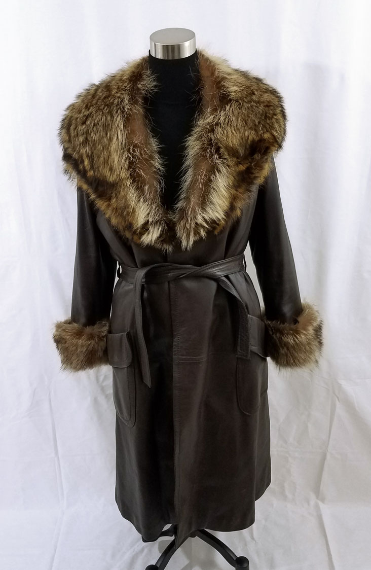 Leather Coat Fur Trim Front