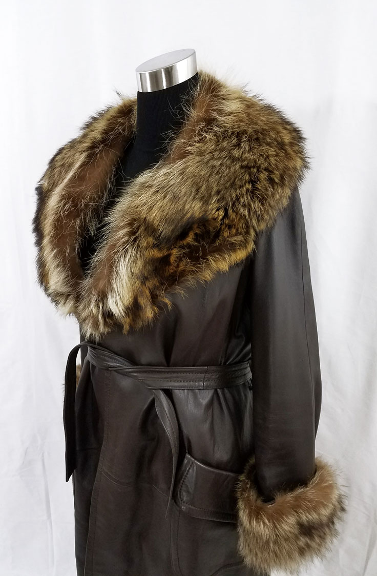 Leather Coat Fur Trim Side