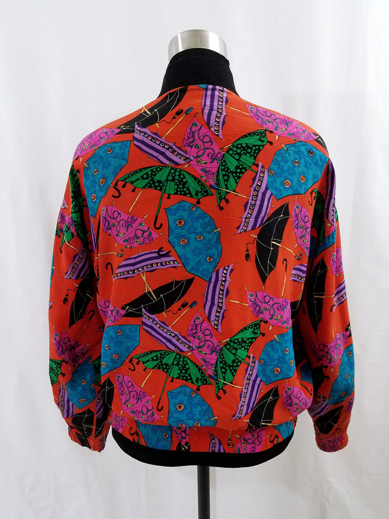 Umbrella Print Silk Bomber Jacket